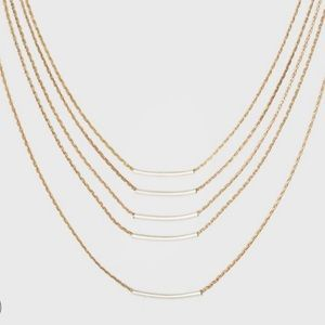 Delicate Multi Row Necklace with Tubing